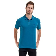 CAMISA POLO LISA COM ELASTANO - Azul royal