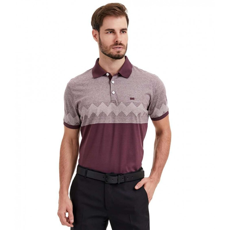 POLO SLIM MANGA CURTA LISTRA JACQUARD - Bordo